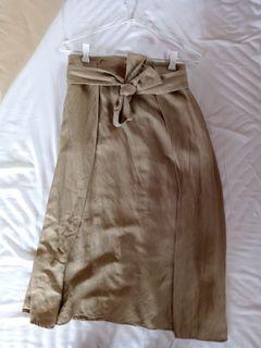 Mango Midi Khaki Skirt