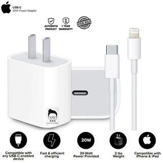 Original Apple USB-C 20W Power Adapter and USC-C to Lightning Cable with O.R. 1yr Local Warranty