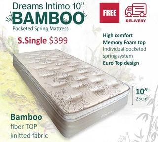SG SELLER 🍀MEMORY FOAM TOP🍀 10inch Single size Bamboo Pocketed Spring Mattress